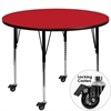 Mobile 48'' Round Red HP Laminate Activity Table - Standard Height Adjustable Legs