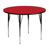 Flash Furniture 48'' Round Activity Table with 1.25'' Thick High Pressure Red Laminate Top and Standard Height Adjustable Legs