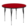 48'' Round Red Thermal Laminate Activity Table - Standard Height Adjustable Legs