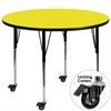Mobile 48'' Round Yellow HP Laminate Activity Table - Standard Height Adjustable Legs
