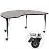 Mobile 48''W x 96''L Kidney Shaped Activity Table with 1.25'' Thick High Pressure Grey Laminate Top and Standard Height Adjustable Legs
