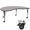 Mobile 48''W x 96''L Kidney Shaped Activity Table with 1.25'' Thick High Pressure Grey Laminate Top and Height Adjustable Preschool Legs