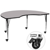 Mobile 48''W x 96''L Kidney Shaped Activity Table with Grey Thermal Fused Laminate Top and Standard Height Adjustable Legs