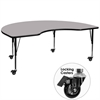 Mobile 48''W x 96''L Kidney Shaped Activity Table with Grey Thermal Fused Laminate Top and Height Adjustable Preschool Legs