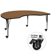 Mobile 48''W x 96''L Kidney Shaped Activity Table with Oak Thermal Fused Laminate Top and Height Adjustable Preschool Legs