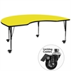 Mobile 48''W x 96''L Kidney Shaped Activity Table with 1.25'' Thick High Pressure Yellow Laminate Top and Height Adjustable Preschool Legs