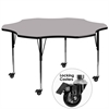 Mobile 60'' Flower Grey Thermal Laminate Activity Table - Standard Height Adjustable Legs