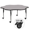 Mobile 60'' Flower Shaped Activity Table with Grey Thermal Fused Laminate Top and Height Adjustable Preschool Legs