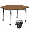 Mobile 60'' Flower Shaped Activity Table with Oak Thermal Fused Laminate Top and Standard Height Adjustable Legs