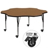 Mobile 60'' Flower Shaped Activity Table with Oak Thermal Fused Laminate Top and Height Adjustable Preschool Legs