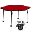 Flash Furniture Mobile 60'' Flower Shaped Activity Table with Red Thermal Fused Laminate Top and Standard Height Adjustable Legs