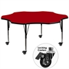 Mobile 60'' Flower Shaped Activity Table with Red Thermal Fused Laminate Top and Height Adjustable Preschool Legs