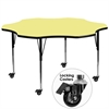 Mobile 60'' Flower Yellow Thermal Laminate Activity Table - Standard Height Adjustable Legs