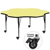 Flash Furniture Mobile 60'' Flower Shaped Activity Table with Yellow Thermal Fused Laminate Top and Height Adjustable Preschool Legs