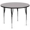 60'' Round Activity Table with Grey Thermal Fused Laminate Top and Standard Height Adjustable Legs