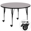 Mobile 60'' Round Grey Thermal Laminate Activity Table - Height Adjustable Short Legs