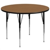 Flash Furniture 60'' Round Activity Table with Oak Thermal Fused Laminate Top and Standard Height Adjustable Legs