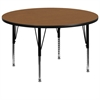 60'' Round Activity Table with Oak Thermal Fused Laminate Top and Height Adjustable Preschool Legs