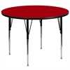 Flash Furniture 60'' Round Activity Table with Red Thermal Fused Laminate Top and Standard Height Adjustable Legs