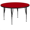 60'' Round Activity Table with Red Thermal Fused Laminate Top and Height Adjustable Preschool Legs
