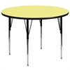 Flash Furniture 60'' Round Activity Table with Yellow Thermal Fused Laminate Top and Standard Height Adjustable Legs