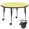 Mobile 60'' Round Activity Table with Yellow Thermal Fused Laminate Top and Height Adjustable Preschool Legs