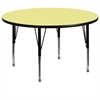 60'' Round Activity Table with Yellow Thermal Fused Laminate Top and Height Adjustable Preschool Legs