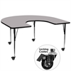 Flash Furniture Mobile 60''W x 66''L Horseshoe Shaped Activity Table with Grey Thermal Fused Laminate Top and Standard Height Adjustable Legs