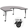 Mobile 60''W x 66''L Horseshoe Shaped Activity Table with Grey Thermal Fused Laminate Top and Height Adjustable Preschool Legs