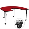Mobile 60''W x 66''L Horseshoe Shaped Activity Table with Red Thermal Fused Laminate Top and Standard Height Adjustable Legs