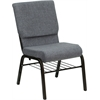 HERCULES Series 18.5''W Gray Fabric Church Chair with 4.25'' Thick Seat, Book Rack - Gold Vein Frame