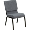 Flash Furniture HERCULES Series 18.5''W Gray Fabric Stacking Church Chair with 4.25'' Thick Seat - Gold Vein Frame