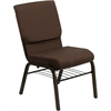 HERCULES Series 18.5''W Brown Fabric Church Chair with 4.25'' Thick Seat, Book Rack - Gold Vein Frame
