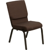 Flash Furniture HERCULES Series 18.5''W Brown Fabric Stacking Church Chair with 4.25'' Thick Seat - Gold Vein Frame