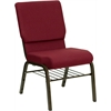 HERCULES Series 18.5''W Burgundy Fabric Church Chair with 4.25'' Thick Seat, Book Rack - Gold Vein Frame