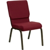 Flash Furniture HERCULES Series 18.5''W Burgundy Fabric Stacking Church Chair with 4.25'' Thick Seat - Gold Vein Frame