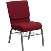 Flash Furniture HERCULES Series 18.5''W Burgundy Fabric Church Chair with 4.25'' Thick Seat, Book Rack - Silver Vein Frame