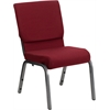 HERCULES Series 18.5''W Burgundy Fabric Stacking Church Chair with 4.25'' Thick Seat - Silver Vein Frame