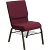 HERCULES Series 18.5''W Burgundy Patterned Fabric Church Chair with 4.25'' Thick Seat, Book Rack - Gold Vein Frame
