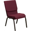 HERCULES Series 18.5''W Burgundy Patterned Fabric Stacking Church Chair with 4.25'' Thick Seat - Gold Vein Frame