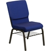 HERCULES Series 18.5''W Navy Blue Patterned Fabric Church Chair with 4.25'' Thick Seat, Book Rack - Gold Vein Frame