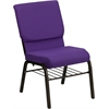 Flash Furniture HERCULES Series 18.5''W Purple Fabric Church Chair with 4.25'' Thick Seat, Book Rack - Gold Vein Frame