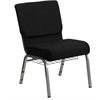 Flash Furniture HERCULES Series 21'' Extra Wide Black Fabric Church Chair with 3.75'' Thick Seat, Book Rack - Silver Vein Frame