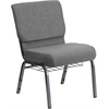 HERCULES Series 21'' Extra Wide Gray Fabric Church Chair with 3.75'' Thick Seat, Book Rack - Silver Vein Frame