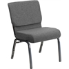 Flash Furniture HERCULES Series 21'' Extra Wide Gray Fabric Stacking Church Chair with 3.75'' Thick Seat - Silver Vein Frame