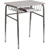 Student Desk with Grey Nebula Plastic Top, Adjustable Legs and Open Front Book Basket