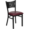 HERCULES Series Black Coffee Back Metal Restaurant Chair - Burgundy Vinyl Seat