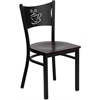 HERCULES Series Black Coffee Back Metal Restaurant Chair - Mahogany Wood Seat