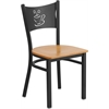 Flash Furniture HERCULES Series Black Coffee Back Metal Restaurant Chair - Natural Wood Seat