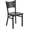 Flash Furniture HERCULES Series Black Coffee Back Metal Restaurant Chair - Walnut Wood Seat